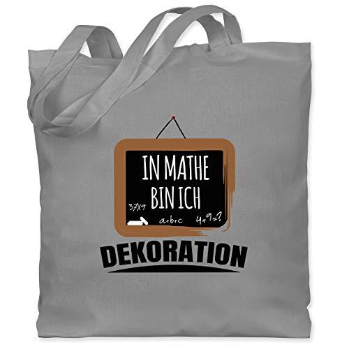 Shirtracer Einschulung und Schulanfang - In Mathe bin ich Dekoration schwarz - Unisize - Hellgrau - Spruch - WM101 - Stoffbeutel aus Baumwolle Jutebeutel lange Henkel