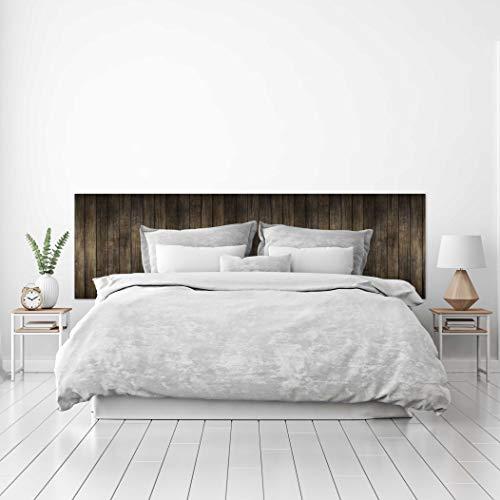 MEGADECOR Cabecero Cama PVC Decorativo Económico Textura de Madera de Nogal Oscuro en Tablas Verticales Pallet (150 cm x 60 cm)