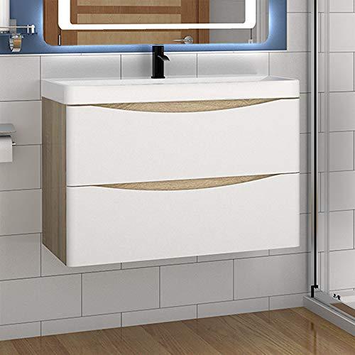 Aica Sanitär Badmöbel Set 80 cm Sofia Waschbecken mit Unterschrank Waschtisch