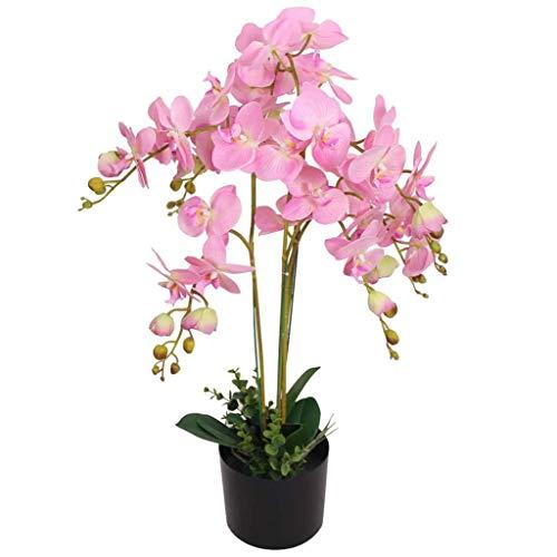 vidaXL Planta Artificial Orquídea con Macetero Altura Total 75 cm Color Blanco