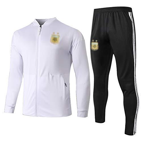 ZH~K Traje de entrenamiento de fútbol para adultos y jóvenes sudadera de manga larga para correr transpirable Top y pantalones traje QL0123 hombres sudaderas (color: blanco+negro, tamaño: M)