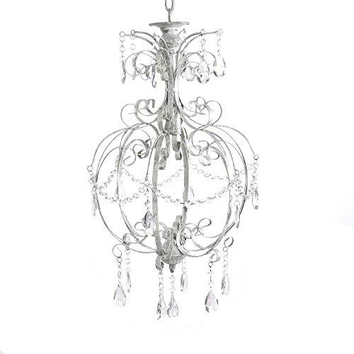Grafelstein, lampadario bianco in stile shabby chic, lampada da soffitto a un braccio
