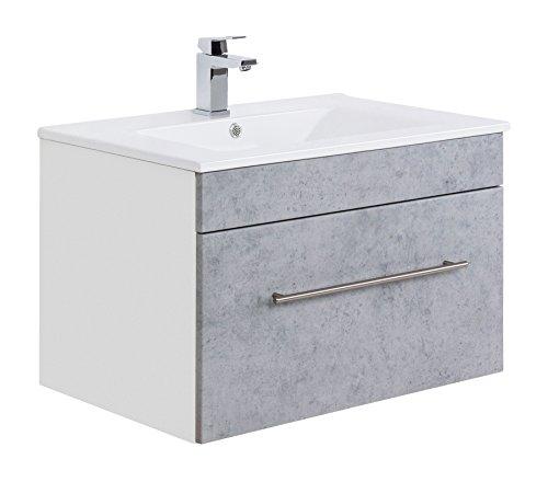 Posseik Badmöbelserie VIVA 75 Waschplatz, Beton + Weiß, Waschtisch 75,5 cm breit Keramik Waschbecken