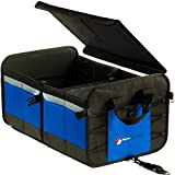 Car Trunk Organizer for Car Organization, SUV, Truck Bed – Trunk Organizers and Storage with Rigid Detachable Lid, 2 Compartments, 10 Exterior Pockets, 2 Tie-Down Straps, No Slip Feet (Blue)