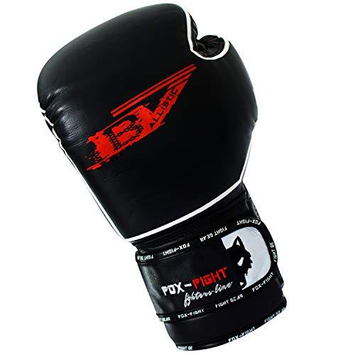 FOX-FIGHT B7 Boxhandschuhe professionelle hochwertige Premium Qualität aus echtem Leder Sandsack Training Sparring Muay Thai Kickbox Freefight Kampfsport BJJ Sandsackhandschuhe Gloves 10 OZ schwarz
