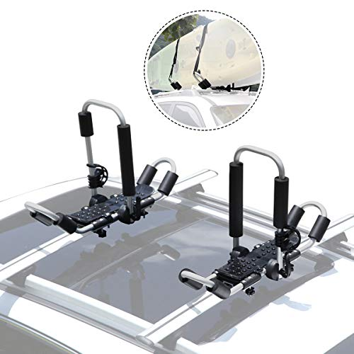 GUDE 2 Pieces J-Bar Kayak Roof Rack Universal Double Folding Kayak Carrier for Canoe Boat, Paddle...