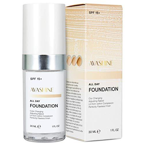 Avashine Color Changing Foundation, Liquid Foundation Cream, BB cream, Fragrance-Free, SPF 15, 30ml, Warm Skin Tone, Lightweight, All-Day Flawless Foundation Makeup