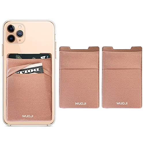 WUOJI Double Pocket Phone Wallet - Klebekartenhalter - Handy Etui mit RFID-Kartenhalter -Kreditkarten und Bargeld tragen - Schwarz- Gold/2PC