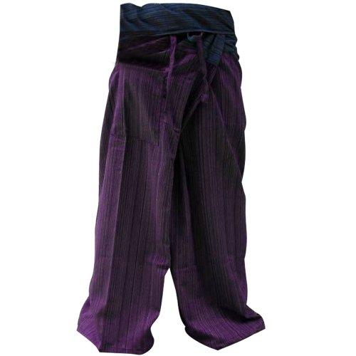 kittiya 2 Tone Thai Fisherman Pants Yoga Trousers Free Size Plus Size Cotton Drill Striped Blue and Purple