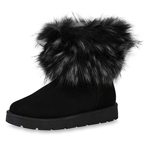 SCARPE VITA Damen Stiefeletten Schlupfstiefeletten Warm Gefütterte Stiefel Bequeme Winter Boots Kunstfell Schuhe Schlupfstiefel 187328 Schwarz 38