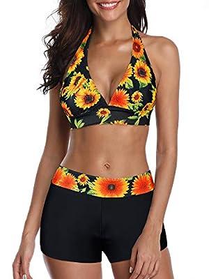 Century Star Women Swimsuit Halter Push Up Top Boyshort Bikini Set Two Piece Bathing Suit Swimwear Sunflower Print X-Large (fits Like US 10-12)