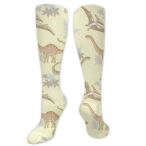 FETEAM Dibujado a mano colorido dinosaurio Anime lindo novedad vestido fresco calcetines, calcetines cómodos de compresión de tobillo alto 2 Pares