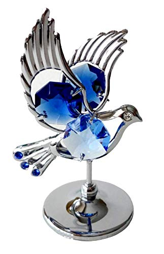 Crystocraft Dove Crystal Ornament With Swarovski Elements Gift Boxed Blue Crystals Silver Chrome Plated Perfect Keepsake Collectors Gift Figurine