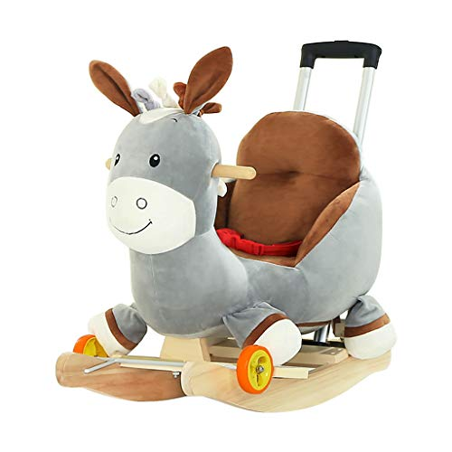 Cavallini Cavallo a Dondolo per Bambini in Legno Giocattolo casa per Bambini Sedia a Dondolo per Bambini a Dondolo Culla Giocattolo Trojan con Asta di Spinta con Ruota Universale