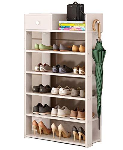 Wanforjewellery Schoenenkast van hout, doe-het-zelf schoenenrek 5 vakken, gangcommode met lade 60 * 24 * 96,6 cm