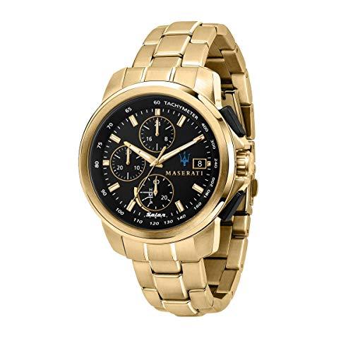 Maserati Herren Uhr, SUCCESSO SOLAR Kollektion, Quarzwerk, Nur Zeitanzeige, aus Edelstahl, Gelbgold PVD - R8873645002