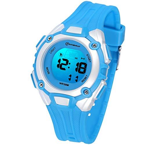 Reloj Digital para Niños Niña,Luz Intermitente LED de 7 Colores Reloj de Pulsera Niña Multifunción con Pantalla Impermeable para Niños,Niñas Reloj Infantil Aprendizaje para Niños