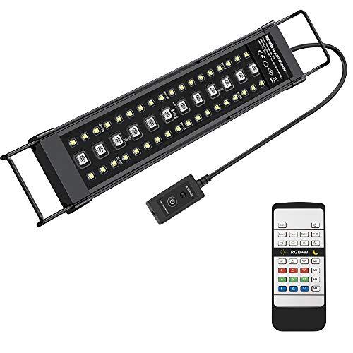 NICREW RGB+W LED Aquarium Beleuchtung, Mehrere Wettermodus Aquariumlampe mit Fernbedienung für Wasserpflanzen und Süßwasser-Aquarien, Voll Spektrum, IP67 Wasserdicht