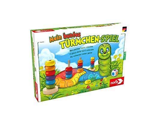 Noris 606011235 Mein buntes Türmchenspiel, Farb-Lernspiel aus hochwertigem Holz für das Kindergartenalter, ab 3 Jahren