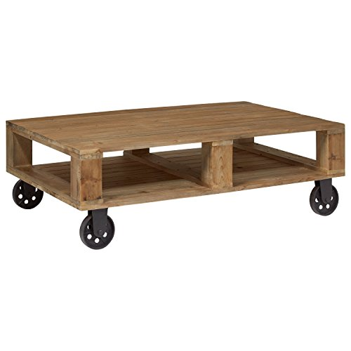 "Amazon Brand – Stone & Beam Industrial Pallet Wood Coffee Table with Wheels, 51""W, Natural"