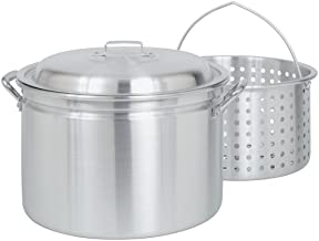 Bayou Classic 4024 24-Quart All Purpose Aluminum Stockpot with Steam and Boil Basket