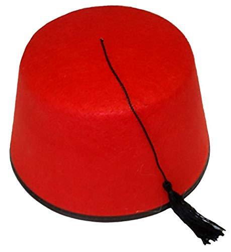 Islander Fashions Herren Damen Cowboy Clown Topper H�te Unisex Stroh Gangster Topper Baretth�te (Red Fez Hut) One Size