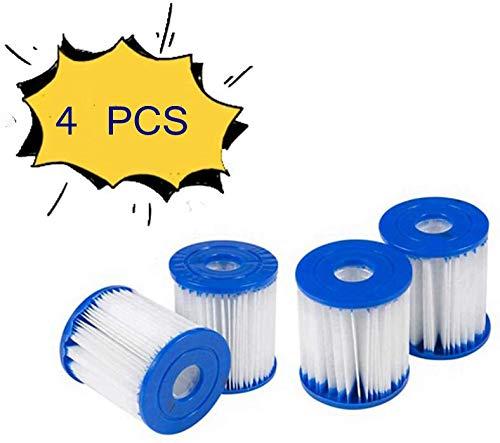 HHDL Cartucho de filtro de piscina, para cartucho de filtro para Bestway Tipo I para piscinas, azul/blanco, 3.1 x 3.5 pulgadas, 4 unidades