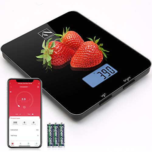 Smart Food Nutrition Scale FITINDEX Bluetooth Digital Kitchen Scale with Nutritional Calculator and Timer Multifunction Coffee Scale with Smartphone APP for Keto Macro Calorie and Weight Loss