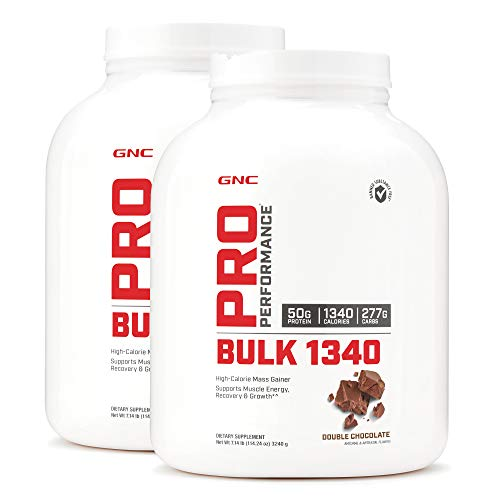 GNC Pro Performance Bulk 1340 - Double Chocolate, Twin Pack, 9 Servings per Bottle, Supports Muscle Energy, Recovery and Growth