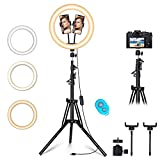 12' Ring Light with Tripod Stand & 2 Phone Holder, Dimmable USB Beauty Ring Lights with Bluetooth Remote, LED Selfie Ring Light for Photography/Makeup/Live Stream,Compatible with iPhone and Android