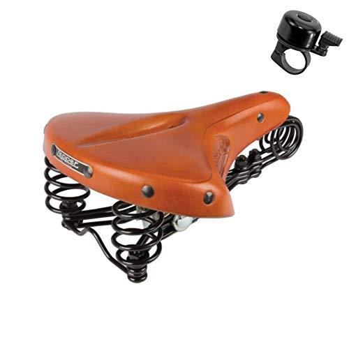 maxxi4you Angebot-Set / 1 x Leder Damensattel Lepper Primus 214 Fahrradsattel Honig inkl. 1 Fahrradglocke