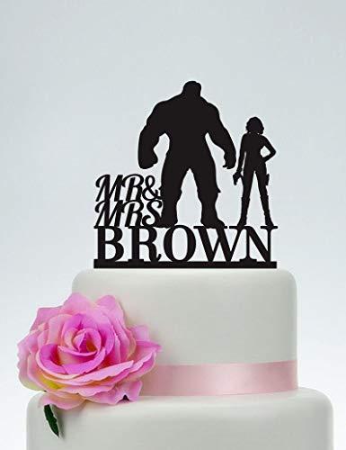 Decoración para tarta con diseño de Hulk y viuda negra, decoración para tarta de boda, decoración para tarta con el apellido, decoración para tarta de superhéroe, Vengadores, Hero Wedding C138