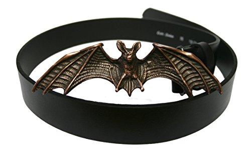 Dark Dreams Mittelalter Gothic schwarzer Gürtel Ledergürtel mit Gürtelschnalle Fledermaus altkupfer, Länge:80