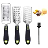 Wimaha 4in1 Cheese Grater with Handle, Stainless Steel Zester Grater for Kitchen,Microplane Graters for Parmesan Cheese, Nutmeg, Lemon, Chocolate, Potato, Ginger and Garlic