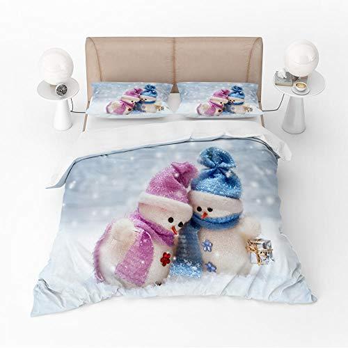 Microfibre 3D Digital Print Three-Piece Set Couple snowman Duvet Cover Quilt Bedding Set with Pillow Case Thermal Warm Cosy Super Soft,140x200cm