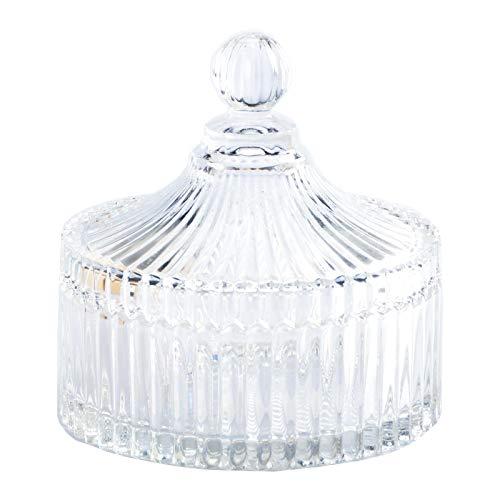 Bonbonglas Bonbonniere aus Vorratsglas Glasgefäß Glas mit Deckel, dekorative Süßigkeitenschale, mit Kristallüberzug für Zuhause, Büro, Schreibtisch Bonbonbehälter Zuckerdose BonbonDose Glasschale Keksglas Aufbewahrungsgläser Candybar No: 1