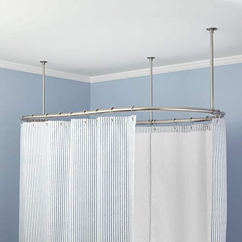 Naiture Stainless Steel Oval Shower Curtain Rod with Ceiling Support in 72