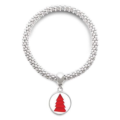 DIYthinker Damen Abstrakter Weihnachtsbaum Origami Muster Sliver Armband Laufende Anhänger Schmuck-Kette