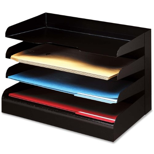 Buddy Products Classic 4 Tier Trays, Legal Size, Steel, 9.5 x 9.675 x 15 Inches, Black (0414-4)