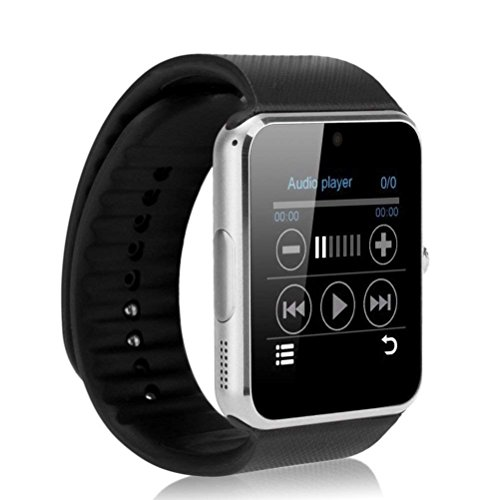 Smartwatch Verbundene Bluetooth-Uhr Herren Mann Frau Armband Kunststoff Zifferblatt Stahl Kompatibel Android iPhone Silber