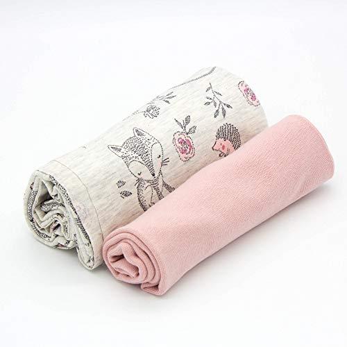 Kleines Stoffpaket - 0,5m Baumwoll-Jersey Stoff + 0,5m Bündchen Nele - zum Nähen von Kinderbekleidung - Kinderstoff - Muster-Mix (Baby Fuchs + Bündchen hell Altrosa)
