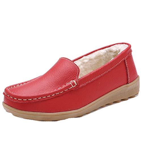 Zapatos De Barco De Felpa De Invierno Las Mujeres Mantienen Zapatos De...
