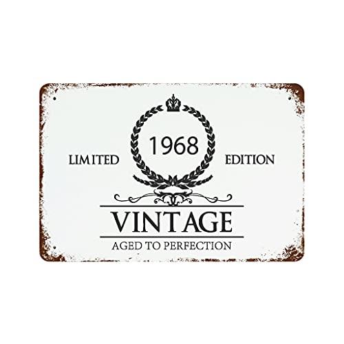 YCNJJB Letrero de peltre para puerta de cristal de vino de 1968, grande, divertido para decoración de pared, accesorio blanco 30 x 20 cm