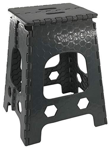 Stabiler Tritthocker/Klapphocker - Hocker mit Griff - zusammenklappbat - bis 120kg - ver. Höhen - Sitzhocker aus Kunststoff - Campinghocker - anthrazit (Groß - 36 x 32 x 46 cm)