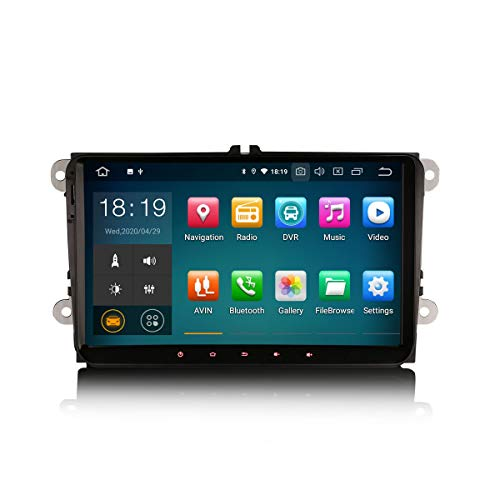 Erisin 9 Zoll Android 10.0 Autoradio für VW Passat Golf Jetta Caddy Tiguan Polo mit GPS Navi Unterstützt Carplay Android Auto Bluetooth WiFi 4G DAB+ Lenkradfernbedienung RDS Mirror Link OBD