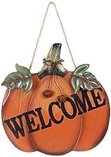 Rainbow Handcrafts Handmade Harvest Thanksgiving Halloween Hanging Wood Pumpkin Welcome Sign Decor Fall Autumn Door Wall Indoor Outdoor 9.8 x 1 x 9.5 Inches