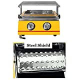 WggWy Stainless Propane Gas Grill, 2 Burner Gas BBQ Grill, Portable BBQ Grill Use for Picnic Camping Trip Tailgating Patio Garden BBQ Home Use,Yellow,Steel Shield