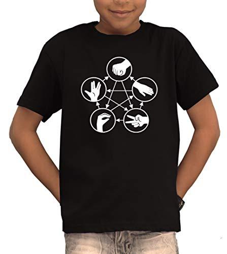 TSP Stein Schere Echse Spock T-Shirt Kinder 152/164 Schwarz