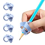 Lápices Agarres Para Niños, Yuccer 4 PCS Ergonómica Apretón Escritura de Ayuda Apretón de Lápiz (Azul)