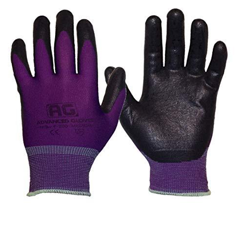 AG NiTex P-200 PP, Nitrile Foam Coated Gloves, 6 Pairs, Purple Gloves, Breathability (Large)